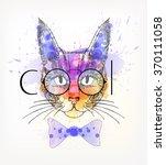 hand drawn portrait of hipster... | Shutterstock .eps vector #370111058