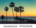 palm trees at manhattan beach.... | Shutterstock . vector #370124246