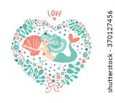 cute card with mermaid in love. ... | Shutterstock .eps vector #370127456