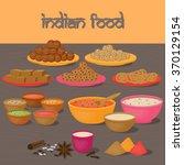 vedic indian cuisine  set of... | Shutterstock .eps vector #370129154