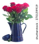 Stock photo red roses in blue pot isolated on white background 370159919