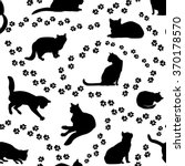 Stock vector cats seamless pattern kitten silhouette and animal tracks pattern over white background 370178570