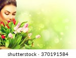 Beauty Model Woman With Spring...