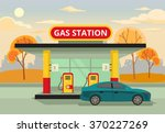 petrol gas station. vector flat ... | Shutterstock .eps vector #370227269