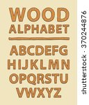 wooden alphabet and font style  ... | Shutterstock .eps vector #370244876