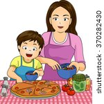illustration of a boy with his... | Shutterstock .eps vector #370282430