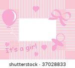 baby girl arrival announcement... | Shutterstock .eps vector #37028833