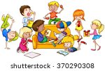 children having fun in the room ... | Shutterstock .eps vector #370290308