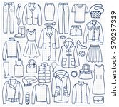 hand drawn doodle set with... | Shutterstock .eps vector #370297319