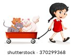Little Girl Pulling Cart With...