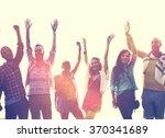 teenagers friends beach party... | Shutterstock . vector #370341689