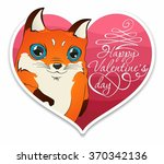 fox and heart. happy valentin's ... | Shutterstock .eps vector #370342136