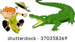 hunter escapes from a huge... | Shutterstock .eps vector #370358369