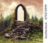 Fantasy Door And Stairs On A...