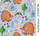cute background of lama  bird ... | Shutterstock .eps vector #370385798