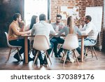 morning meeting. group of six... | Shutterstock . vector #370389176