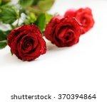 Stock photo valentine roses over white background 370394864