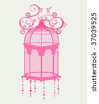 Sweet Pink Birdcage And Floral...