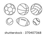 sports balls in linear style | Shutterstock . vector #370407368