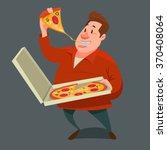 man eating a big slice of pizza ... | Shutterstock .eps vector #370408064