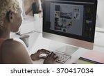 designer meeting colleague... | Shutterstock . vector #370417034
