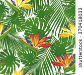 tropical flowers and leaves on... | Shutterstock .eps vector #370418033