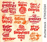 set of fast food calligraphic... | Shutterstock .eps vector #370424264