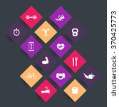14 fitness  gym rhombic icons ...   Shutterstock .eps vector #370425773