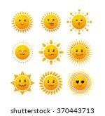 Sun Smiling Icon Set Isolated...