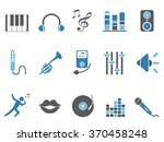 blue music audio icons set | Shutterstock .eps vector #370458248