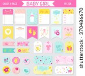 baby girl shower or arrival set ... | Shutterstock .eps vector #370486670