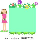 frame box of flowers and girl...   Shutterstock .eps vector #37049596