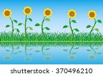 grass and sunflowers with...   Shutterstock .eps vector #370496210