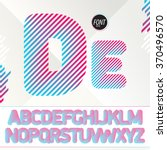 dj style font. striped colorful ... | Shutterstock .eps vector #370496570