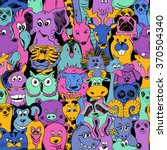 Stock vector colorful bright psychedelic seamless pattern with funny animals abstract graphic animal background 370504340
