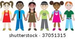 kids holding hands 1. vector of ... | Shutterstock .eps vector #37051315