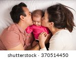 couple of new parents lying in...   Shutterstock . vector #370514450