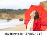Joyful Woman Wearing Red Jacke...