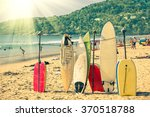 multicolored surfboards at ... | Shutterstock . vector #370518788