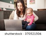 pretty young single mom working ... | Shutterstock . vector #370521506