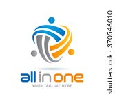 all in one abstract people logo