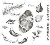 vector steak meat hand drawing... | Shutterstock .eps vector #370548446