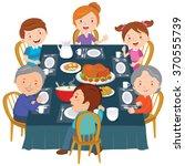family dinner. happy extended... | Shutterstock .eps vector #370555739