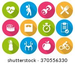 icon set flat   fitness 01 | Shutterstock .eps vector #370556330