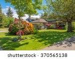 A perfect neighborhood. Houses in suburb at Spring in the north America. Great outdoor landscape.