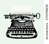 hand drawn antique typewriter... | Shutterstock .eps vector #370598858