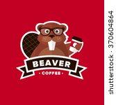 beaver hipster coffee logo     Shutterstock .eps vector #370604864