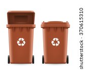 Set Of Brown Buckets For Trash...
