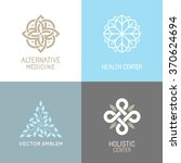 Vector set of abstract logos - alternative medicine concepts and health centers insignias  - yoga and spiritual emblems | Shutterstock vector #370624694