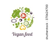 vegan food icon. circle shape... | Shutterstock .eps vector #370624700